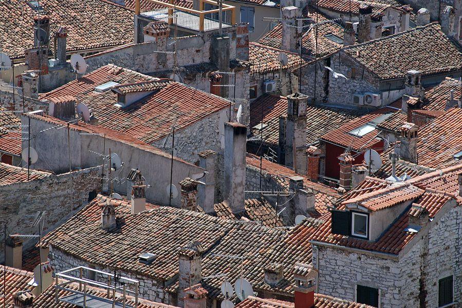 Een wirwar van rood gekleurde daken in een zuidelijk havenstadje in Istrië.