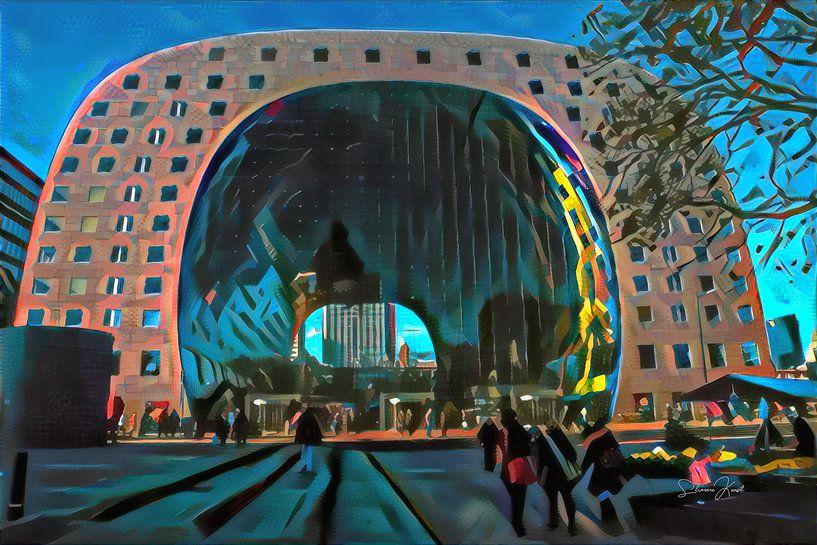 Modern Schilderij van Markthal Rotterdam van Slimme Kunst.nl