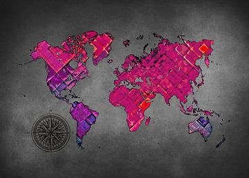 Weltkarte Kunst lila und schwarz #Karte #Weltkarte von JBJart Justyna Jaszke