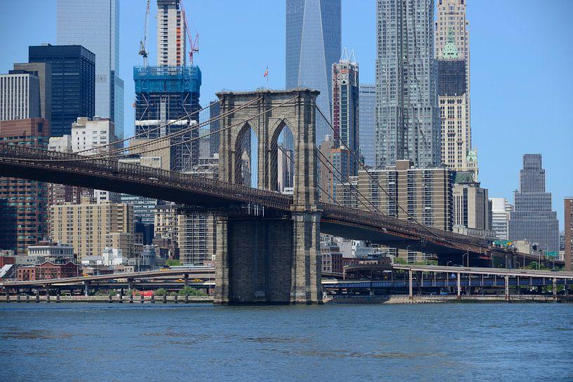 Brooklyn Bridge in New York met Manhattan skyline van Merijn van der Vliet