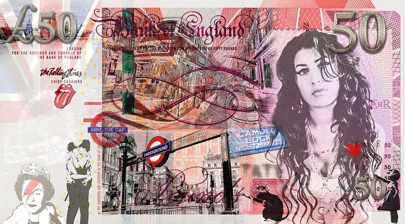 Amy Winehouse 50 pounds bill van Rene Ladenius