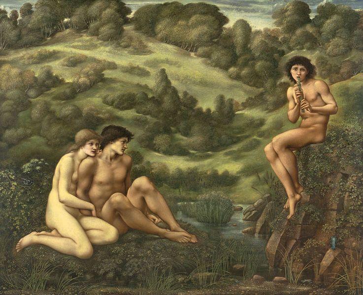 The garden of Pan, Edward Burne-Jones von Meesterlijcke Meesters
