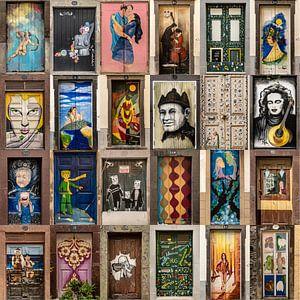 Collage deuren Funchal, Madeira old town van