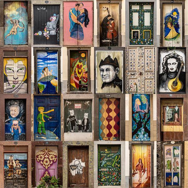 Collage deuren Funchal, Madeira old town van Carin du Burck