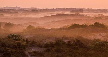 Mist panorama duinen Katwijk aan zee van Menno van Duijn