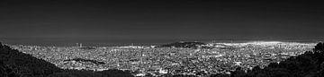 Barcelona panorama bij nacht
