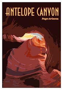 Vintage-Poster Antilopenschlucht, Seite Arizona USA
