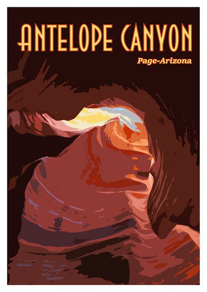 Vintage-Poster Antilopenschlucht, Seite Arizona USA von Discover Dutch Nature