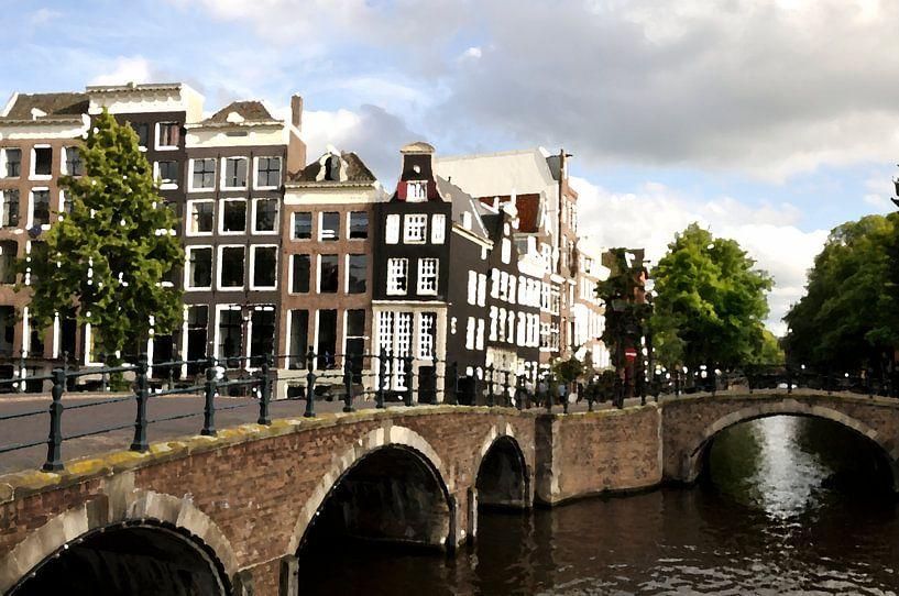 Oil Painting Amsterdam Canals and Canal houses  von Maarten  van der Velden