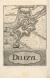 Oude kaart van Delfzijl van omstreeks 1743