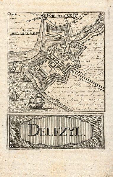 Oude kaart van Delfzijl van omstreeks 1743 van Gert Hilbink
