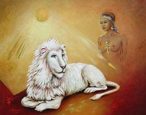 Weißer Löwe mit Löwenschamanin