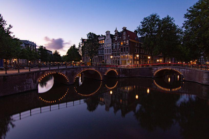 Zonsondergang Amsterdam van Kimberley Jekel