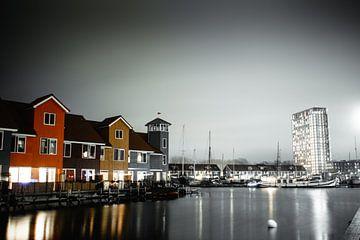 Yachthafen Reitdiep in Groningen bei Nacht von Eugenlens