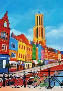Schilderij Utrecht met de Dom van