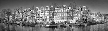 Prinsengracht Amsterdam panorama in zwart wit van Heleen van de Ven