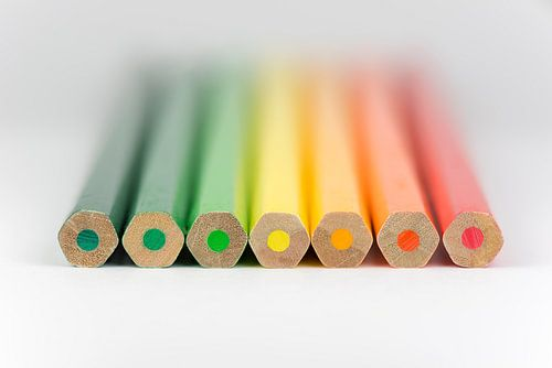 Conceptuele kleurpotloden als energielabel kleuren