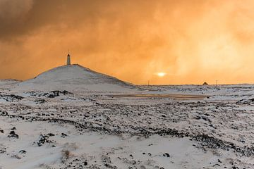 Vuurtoren van Gunnuhver in de brandende lucht