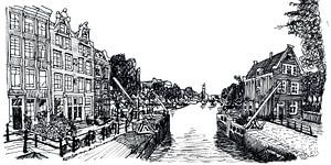 Zeichnung Sluis in Amsterdam Die Niederlande