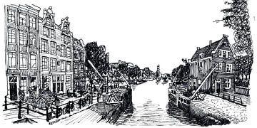 Zeichnung Sluis in Amsterdam Die Niederlande von Hendrik-Jan Kornelis