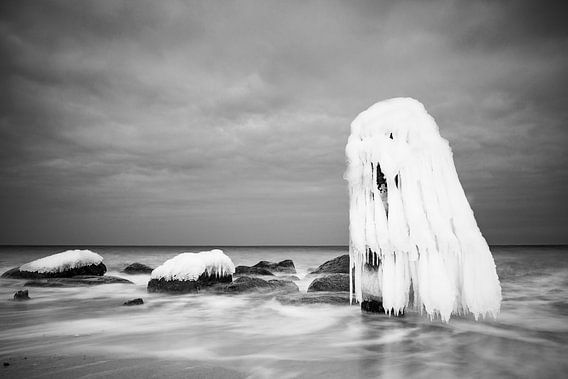 Groyne in winter time on the Baltic Sea coast.