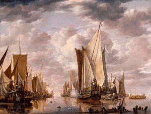 Scheepvaart in een kalmte op Vlissingen met een Staten Generaal Yacht Firing a Salute, Jan van de Ca