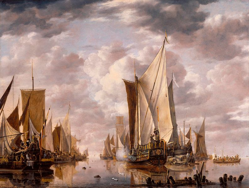 Scheepvaart in een kalmte op Vlissingen met een Staten Generaal Yacht Firing a Salute, Jan van de Ca van Meesterlijcke Meesters