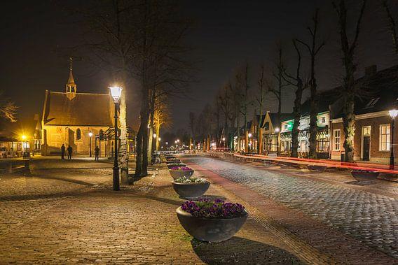 Markt Eersel bij nacht van Peter van Rooij