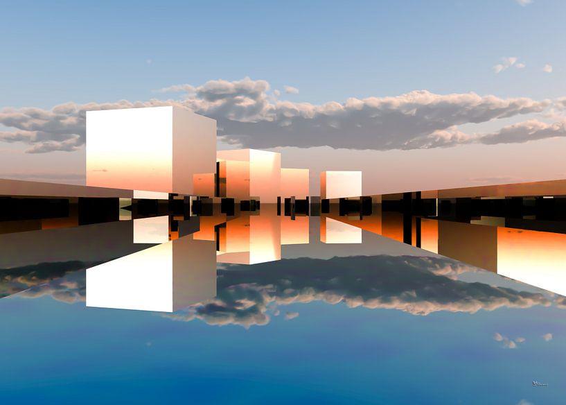 futuristische architectuurstad Q-City 9 van Max Steinwald