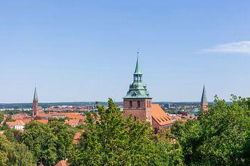 Vue d'ensemble de la ville de Kalkberg avec l'église St. Michelis, vieille ville, Lüneburg, Basse-Sa