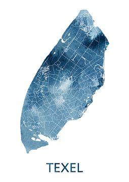 Texel Landkaart   Oceaan Blauw Aquarel van Wereldkaarten.Shop