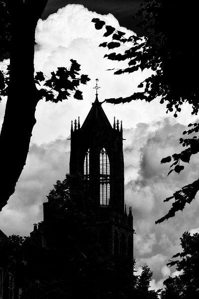 Tegenlicht in Utrecht: Silhouet van de Domtoren in Utrecht (monochroom) van De Utrechtse Grachten