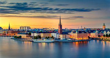 Zonsondergang Stockholm van Adelheid Smitt