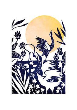 Linoprint Kraanvogels van Goed Blauw
