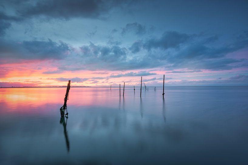 Landschap Kust, vissersnetten en palen van Original Mostert Photography