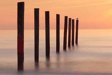 Zonsondergang aan de Nederlandse kust van Hester Hielkema