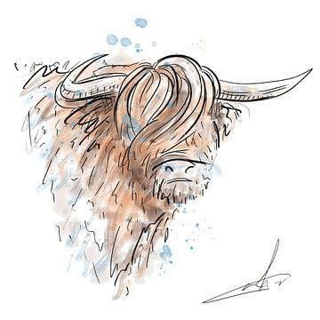 Digitales Kunstwerk - Schottischer Highlander - Aquarell von Emiel de Lange