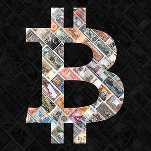 Bitcoin over bank notes&quot ; - Bitcoin art - logo derrière de vieux billets de banque suspendu