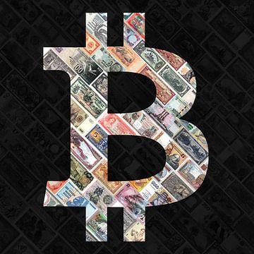 """Bitcoin über Geldscheine"""" - Bitcoin-Kunst - Logo hinter alten, ausgesetzten Geldscheinen von Roger VDB"""