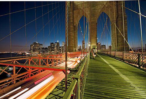 Uitzicht op Brooklyn Bridge bij nacht, New York, Verenigde Staten van Beeldig Beeld