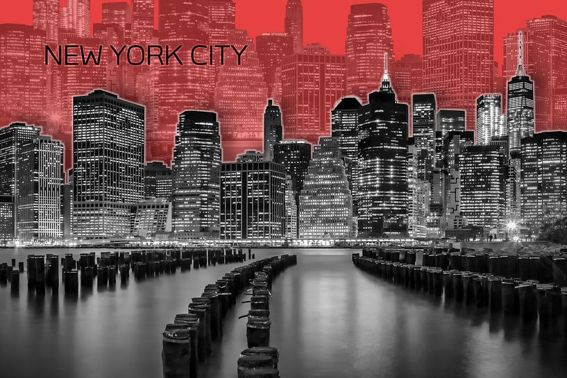 MANHATTAN Skyline | Graphic Art | red van Melanie Viola