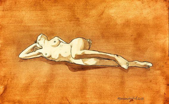 Naakt, liggend II, aquarel Kees Wennekendonk