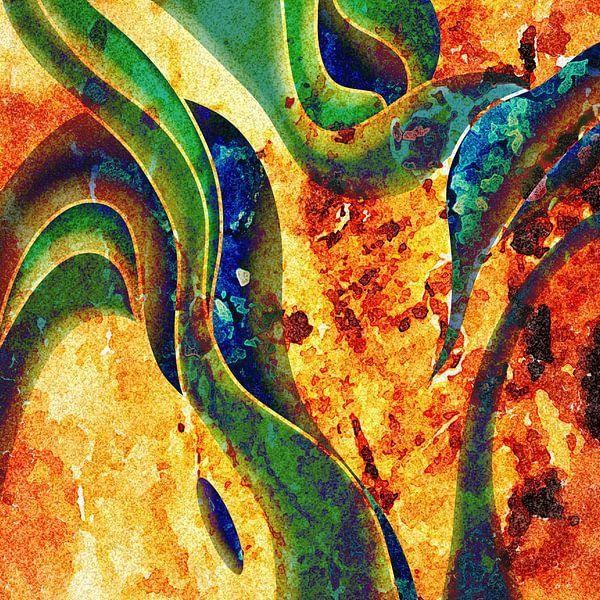 Abstraktes Gemälde Gelb und Grün von Patricia Piotrak