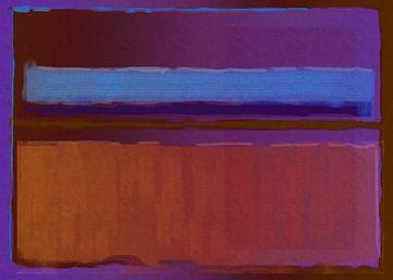 Abstract schilderij paars, blauw en oranje van Rietje Bulthuis