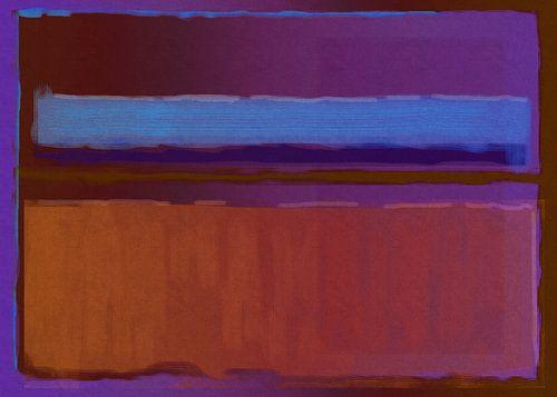 Abstract schilderij paars, blauw en oranje