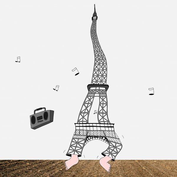 Dansende Eiffeltoren van Dennis Michels
