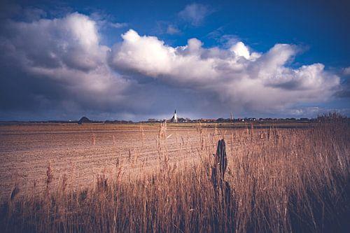 Hollands landschap op het eiland Texel