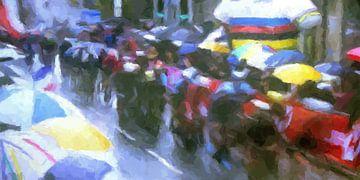 WK wielrennen in de regen, modern abstract van Paul