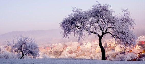 winterlandschap in pasteltinten
