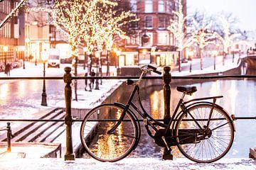 Leiden winter vanaf de Korenbeurs von Frans Nijssen